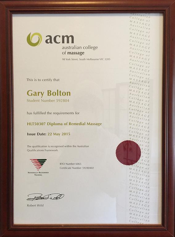 Gary Bolton Remedial Massage Therapist